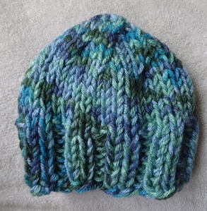 knit baby boy hat blue/green